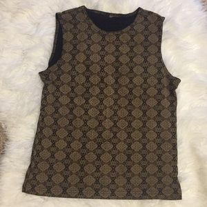 Brown and black vintage medallion top